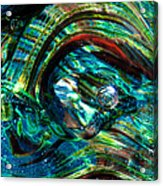 Glass Macro - Blue Green Swirls Acrylic Print by David Patterson
