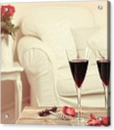 Glasses Of Red Wine Acrylic Print by Amanda And Christopher Elwell