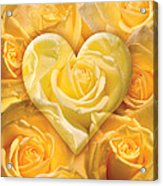 Golden Heart Of Roses Acrylic Print by Alixandra Mullins