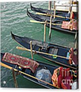 Gondolas Waiting For Tourists In Venice Acrylic Print by Kiril Stanchev