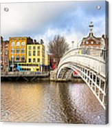 Graceful Ha'penny Bridge Over River Liffey Acrylic Print by Mark E Tisdale