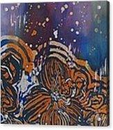 Graceful Wild Orchids In Blue/orange Acrylic Print by Beena Samuel