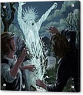Graveyard Digger Ghost Rising From Grave Acrylic Print by Martin Davey