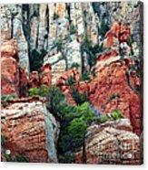 Gray And Orange Sedona Cliff Acrylic Print by Carol Groenen