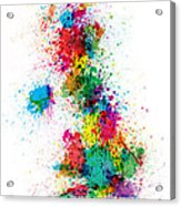 Great Britain Uk Map Paint Splashes Acrylic Print by Michael Tompsett