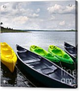 Green And Yellow Kayaks Acrylic Print by Carlos Caetano
