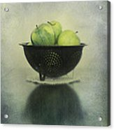 Green Apples In An Old Enamel Colander Acrylic Print by Priska Wettstein