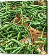 Green Beans In Baskets At Farmers Market Acrylic Print by Teri Virbickis