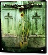 Green Doors Acrylic Print by Gothicolors Donna