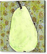 Green Pear Art With Swirls Acrylic Print by Blenda Studio