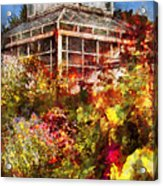 Greenhouse - The Greenhouse And The Garden Acrylic Print by Mike Savad