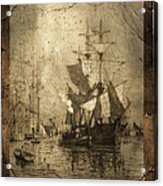 Grungy Historic Seaport Schooner Acrylic Print by John Stephens
