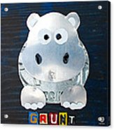 Grunt The Hippo License Plate Art Acrylic Print by Design Turnpike
