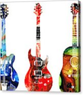 Guitar Threesome - Colorful Guitars By Sharon Cummings Acrylic Print by Sharon Cummings