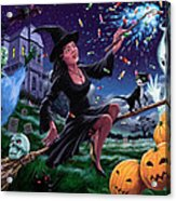 Happy Halloween Witch With Graveyard Friends Acrylic Print by Martin Davey
