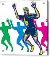 Happy Marathon Runner Running Retro Acrylic Print by Aloysius Patrimonio