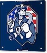 Happy Patriots Day God Bless America Retro Acrylic Print by Aloysius Patrimonio