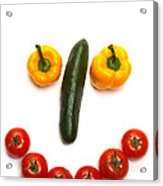 Happy Veggie Face Acrylic Print by Olivier Le Queinec