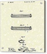 Harmonica 1876 Patent Art Acrylic Print by Prior Art Design