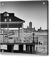 Hdr Beach Boardwalk Photos Pictures Art Sea Ocean Photograph Scenic Landscape Black White Acrylic Print by Pictures HDR