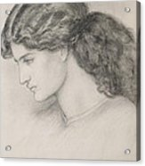 Head Of A Woman Acrylic Print by Dante Gabriel Charles Rossetti