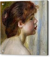 Head Of A Young Woman Acrylic Print by Pierre Auguste Renoir