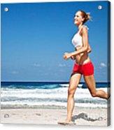 Healthy Woman Running On The Beach Acrylic Print by Anna Omelchenko