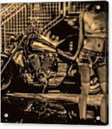 Her Bike Acrylic Print by Bob Orsillo