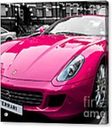 Her Pink Ferrari Acrylic Print by Matt Malloy