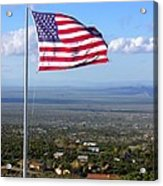 High Flyer American Flag Acrylic Print by Sindi June Short