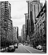 high rise apartment condo blocks in the west end west pender street Vancouver BC Canada Acrylic Print by Joe Fox