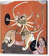 Hindu Goddess Durga Fights Mahishasur Acrylic Print by Photo Researchers