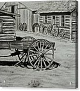 Historic Cabins Cody Wyoming Acrylic Print by Lucy Deane
