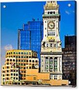 Historic Custom House Clock Tower - Boston Skyline Acrylic Print by Mark E Tisdale