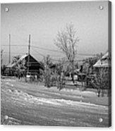 hoar frost covered street in small rural village of Forget Saskatchewan Canada Acrylic Print by Joe Fox