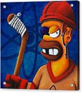 Hockey Homer Acrylic Print by Marlon Huynh