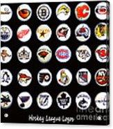 Hockey League Logos Bottle Caps Acrylic Print by Barbara Griffin