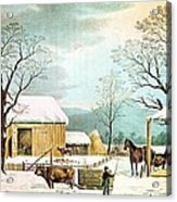 Home To Thanksgiving Acrylic Print by Currier and Ives