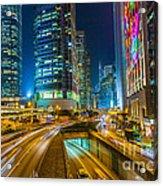 Hong Kong Highway At Night Acrylic Print by Fototrav Print