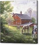 Horse Barn Acrylic Print by John Zaccheo