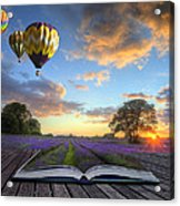 Hot Air Balloons Lavender Landscape Magic Book Pages Acrylic Print by Matthew Gibson
