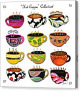 Hot Cuppa Whimsical Colorful Coffee Cup Designs By Romi Acrylic Print by Megan Duncanson