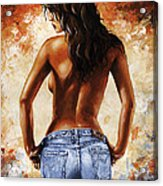Hot Jeans 02 Blue Acrylic Print by Emerico Imre Toth