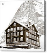Hotel Des Alpes And Eiger North Face Acrylic Print by Frank Tschakert