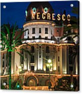 Hotel Negresco By Night Acrylic Print by Inge Johnsson