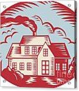 House Homestead Cottage Woodcut Acrylic Print by Aloysius Patrimonio