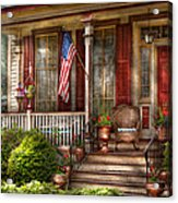 House - Porch - Belvidere Nj - A Classic American Home  Acrylic Print by Mike Savad