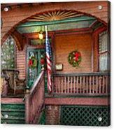 House - Porch - Metuchen Nj - That Yule Tide Spirit Acrylic Print by Mike Savad