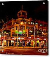 Huntington Beach Downtown Nightside 1 Acrylic Print by Jim Carrell