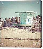 Huntington Beach Lifeguard Tower #5 Retro Picture Acrylic Print by Paul Velgos